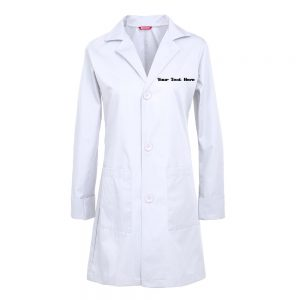 Personalized Embroidered Women's Lab Coat – White