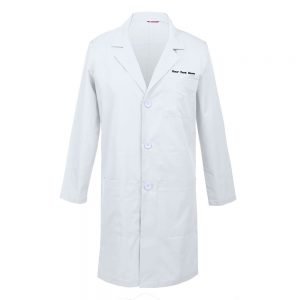 Personalized Embroidered Men's Lab Coat – White