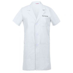 Personalized Embroidered Men's Lab Coat Short Sleeve – White