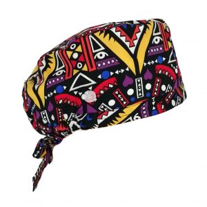 Unisex Print Surgical Cap Surgical Scrub Hat with Buttons